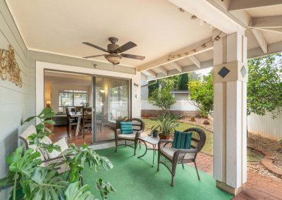 Patio area next to garden at Royal Kunia house for sale