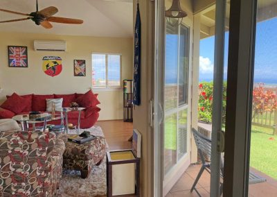 Views right from the living room of the ocean and coastline at Makakilo town house for sale