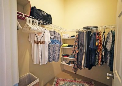 Walk in closet of master bedroom at Makakilo town house for sale