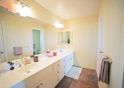 Double sink vanity in master bathroom of Makakilo town house for sale