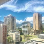 Mountain view from balcony of Waikiki apartment for sale